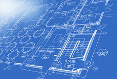 Blue print Plan royalty free illustration