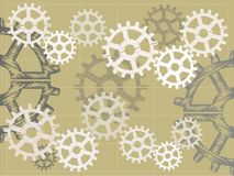 Blue print sketch style gears  illustration Royalty Free Stock Images
