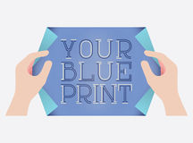 Blue Print Style Template Royalty Free Stock Photos