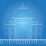 Blue print Taj Mahal Stock Photography