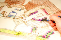 Blue prints. Colored architectural plans for home and landscaping royalty free stock image