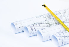 Blue Prints And Rolls Of A Architect`s Project Royalty Free Stock Photography