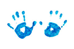 Blue prints of children's hands isolated on white background Stock Photo