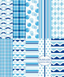 Seamless Background Patterns - Blue Prints Stock Photography