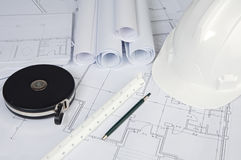 Blue prints home Plans Royalty Free Stock Photo