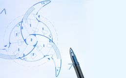 Blue prints and pen Royalty Free Stock Image