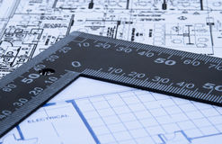 Blue prints and ruler Stock Photos