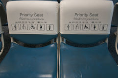 Blue Priority Seating Royalty Free Stock Photography