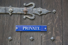 Blue Private Sign Royalty Free Stock Images
