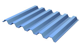 Blue profile ribbed metal panel Stock Photo