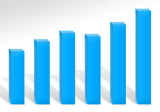 Blue Profit Chart. A 3d bar chart illustration showing profits or growth Stock Photography