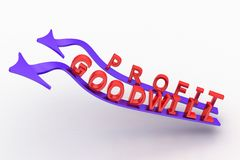 Blue Profit goodwill Arrows bending Royalty Free Stock Images