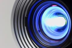 Blue projector. Blue a projector on lens closeup stock photos