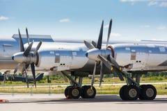 Blue propeller passenger plane close up Stock Image