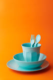 Blue props on orange background Royalty Free Stock Photo
