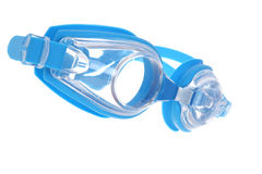 Blue protectiv swim goggles. With white background Royalty Free Stock Images