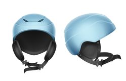 Blue protective helmet. Vector blue protective helmet for skiing, snowboarding and other winter sports front, side view  on white background Stock Image