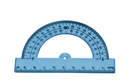 Blue protractor isolated royalty free stock photo