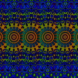 Blue psychedelic pattern background. Cool arab arts.  Royalty Free Stock Photos