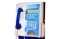 Blue public telephone isolated. Over white background royalty free stock image