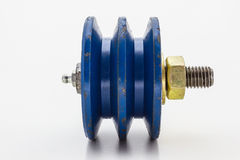 Blue pulley Stock Image