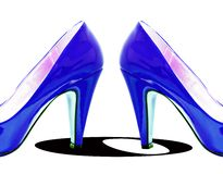 Blue Pump Swirl. Abstract image of a pair of vibrant blue dress pumps Stock Photo