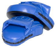 Blue Punching Focus Mitts Cutout Royalty Free Stock Photo