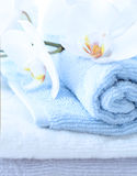 Blue purity. The small towels in roll with orchid above royalty free stock photography