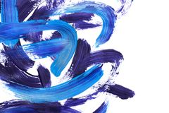 Acrylic paint brush strokes. Blue and purple acrylic abstract brush strokes on white background stock illustration