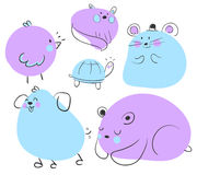 Blue and Purple Animal Doodles Stock Images