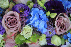 Blue and purple bridal bouquet Royalty Free Stock Photos