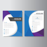 Blue Purple brochure flyer leaflet abstract layout template flat design set for marketing. Advertising Stock Photos
