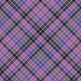 Blue purple check mosaic plaid seamless fabric texture Royalty Free Stock Images