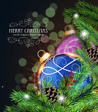 Blue and purple Christmas decorations Royalty Free Stock Photo