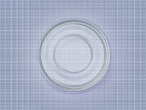 A blue and purple circle on a pattern. A blue/purple circle made out of an image of a tuna can photographed from the bottom part Stock Image