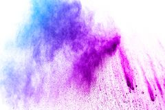 Blue-Purple color powder explosion cloud isolated on white background. stock image