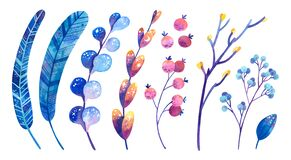 Blue and purple cosmic plants with symbols of stars and the moon. Feathers, flowers, leaves, berries.