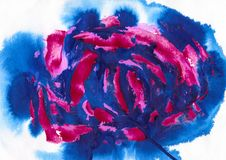 Blue purple and dark red acrylic and watercolor. Painting art, abstract background, splashing, paint, ink, drop, stain Royalty Free Stock Photography