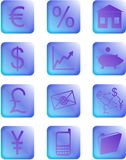 Blue and purple financial buttons and icons Royalty Free Stock Photos