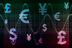 Blue Purple Financial Sector Global Currencies Stock Image