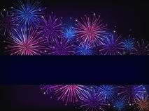 Blue purple fireworks. Colorful fireworks over dark background Stock Photo