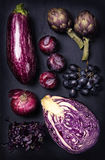Blue and purple fruits and vegetables Royalty Free Stock Images