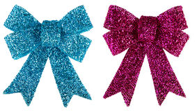 Blue and purple glitter bow isolated on white. Royalty Free Stock Photo