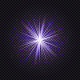 Blue and purple glowing star light glitter effect. Magic glow sp. Arkling textured background. Magic  dust sparks light effect in explosion Royalty Free Stock Images