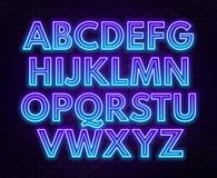 Blue purple gradient neon alphabet on a dark background . Bright font for decoration.Capital letter. Blue purple gradient neon alphabet on a dark background stock illustration