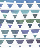 Blue and purple illustration, cool and branding freehand texture based on watercolor gradient stripes in classic equilateral. Triangles. Large, grainy, bright vector illustration