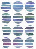 Blue and purple illustration, cool and branding freehand texture based on watercolor gradient stripes in large circle shapes. Larg Royalty Free Stock Photos
