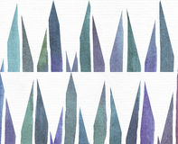 Blue and purple illustration, cool and branding freehand texture, based on watercolor gradient stripes and long triangles pattern. Royalty Free Stock Photo