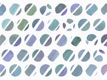 Blue and purple illustration, cool and branding freehand texture based on watercolor gradient stripes in small circles and white w Stock Image