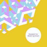 Blue and purple isometric abstraction in flat style on yellow ba Stock Photos